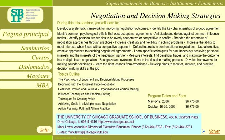 Negotiation and Decision Making Strategies