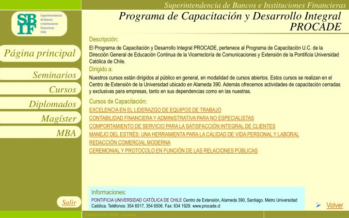 Programa de Capacitación y Desarrollo Integral PROCADE