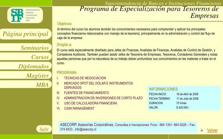 Programa de Especialización para Tesoreros de Empresas