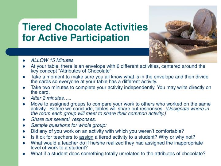 Tiered Chocolate Activities