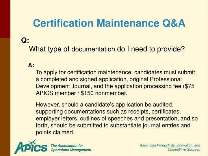 Certification Maintenance Q&A