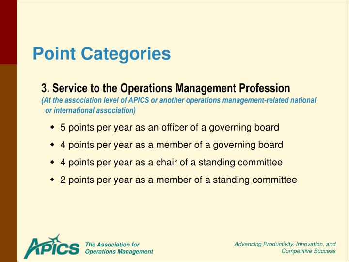 3. Service to the Operations Management Profession
