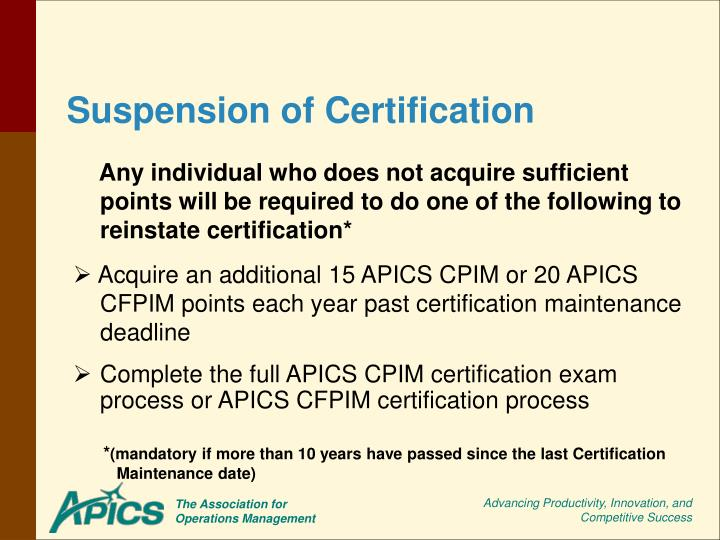 Suspension of Certification