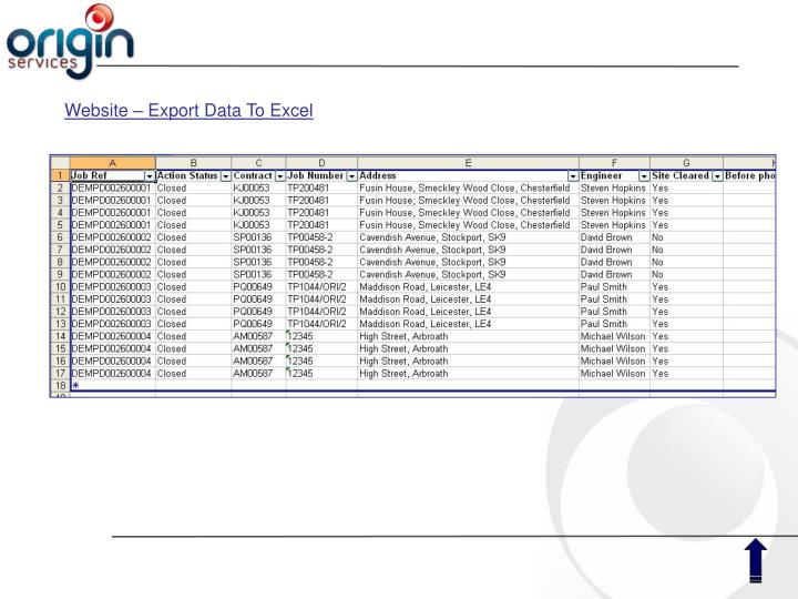 Website – Export Data To Excel
