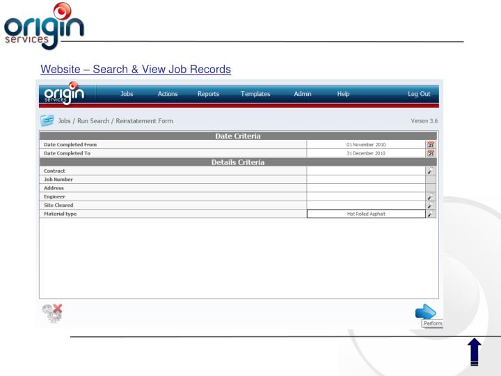 Website – Search & View Job Records