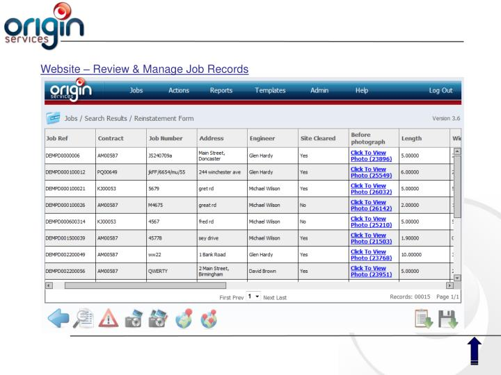 Website – Review & Manage Job Records