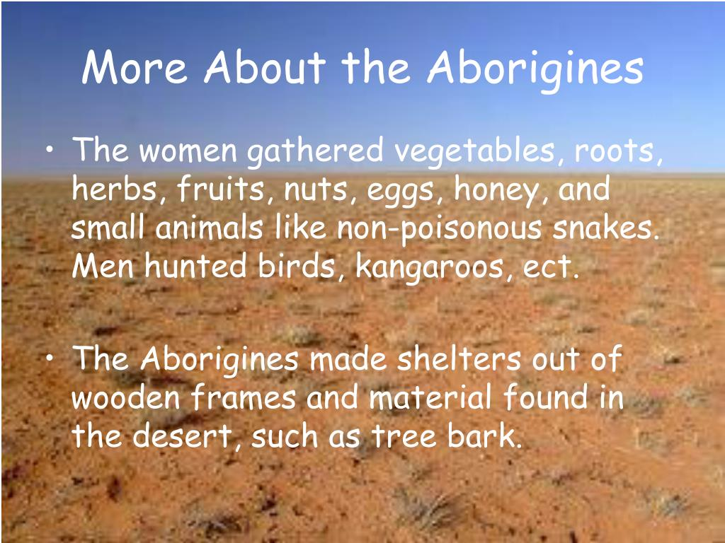 More About the Aborigines