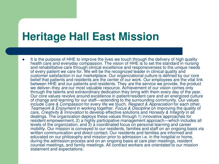 Heritage Hall East Mission