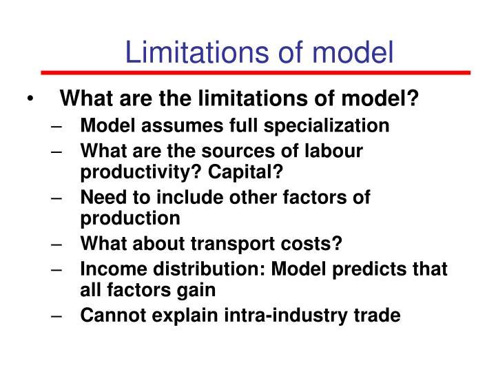 Limitations of model