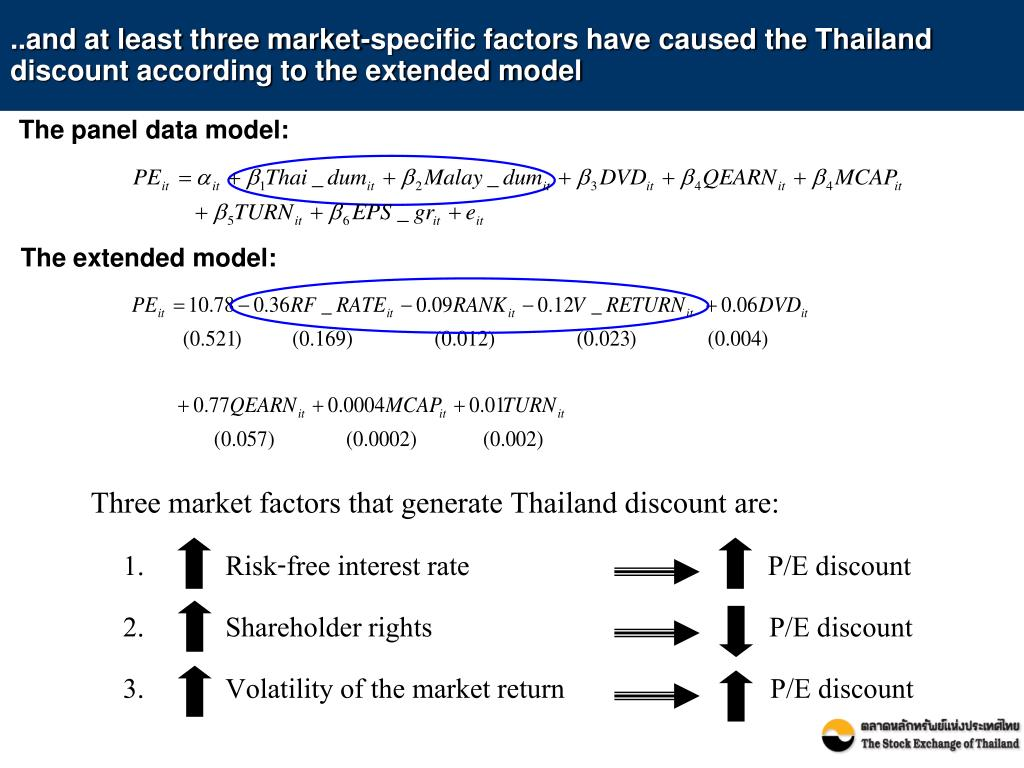 ..and at least three market-specific factors have caused the Thailand discount according to the extended model