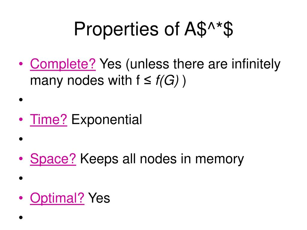 Properties of A$^*$