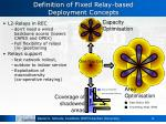 definition of fixed relay based deployment concepts