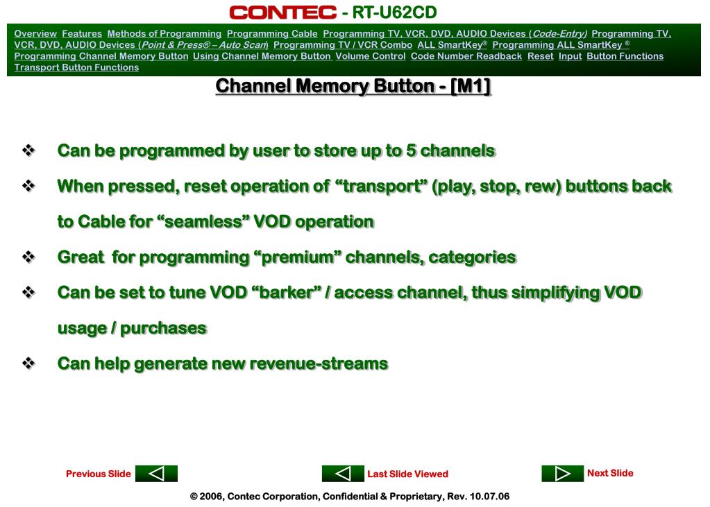 Channel Memory Button - [M1]