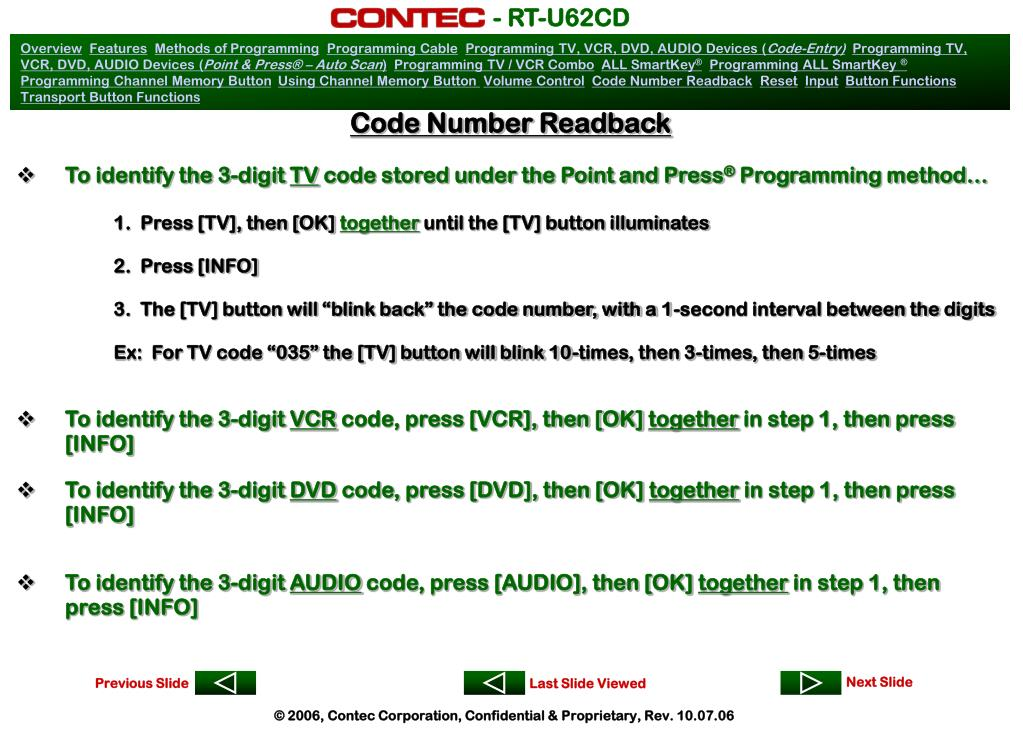 Code Number Readback