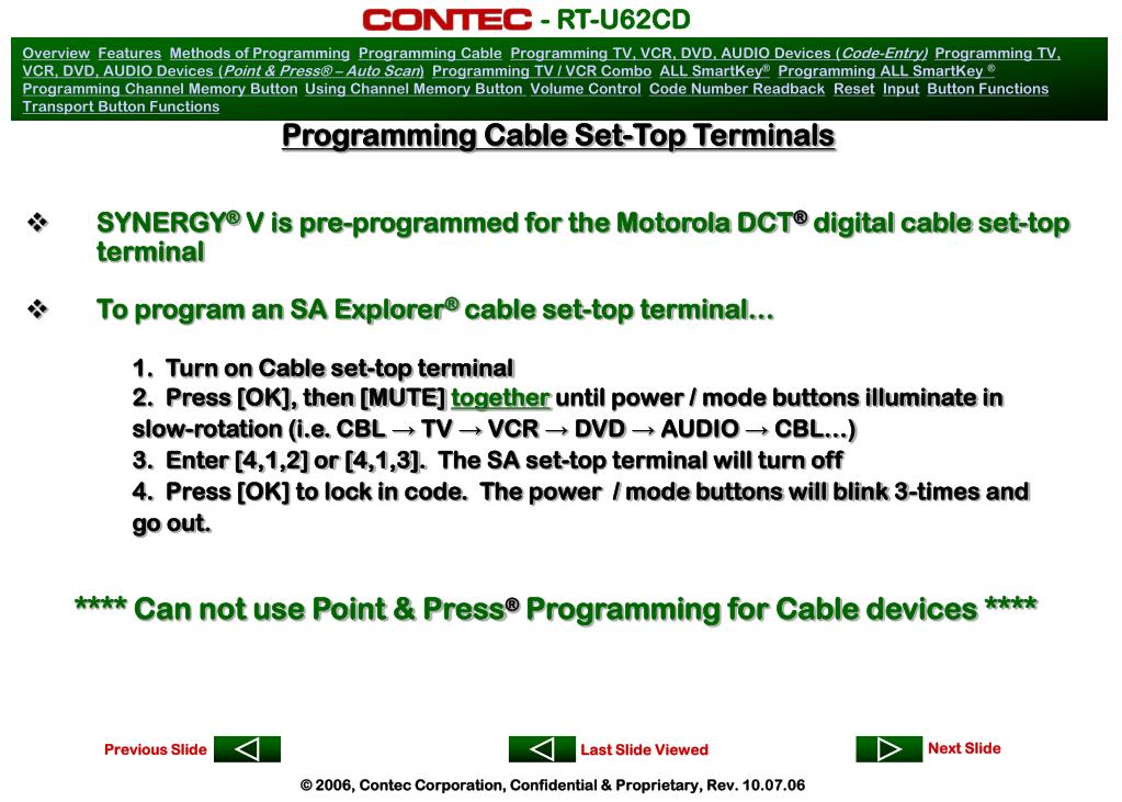 Programming Cable Set-Top Terminals