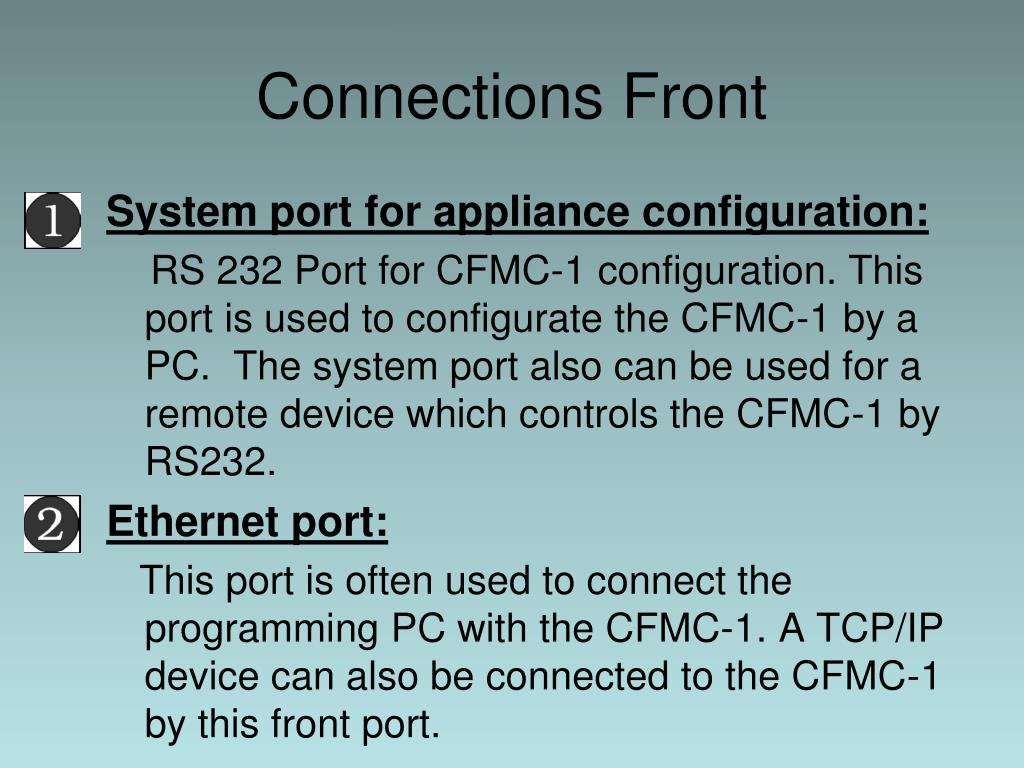 System port for appliance configuration: