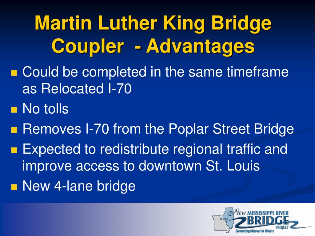 Martin Luther King Bridge Coupler  - Advantages