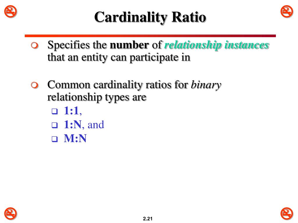 cardinality ratio for binary relationship database