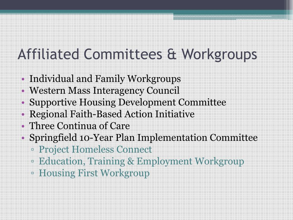 Affiliated Committees & Workgroups