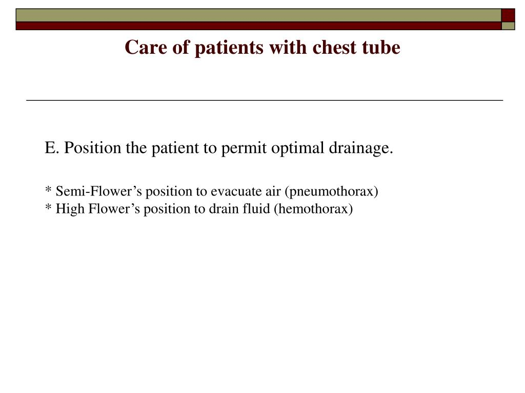 Care of patients with chest tube