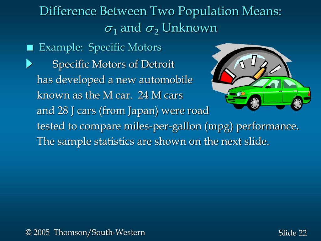 Difference Between Two Population Means: