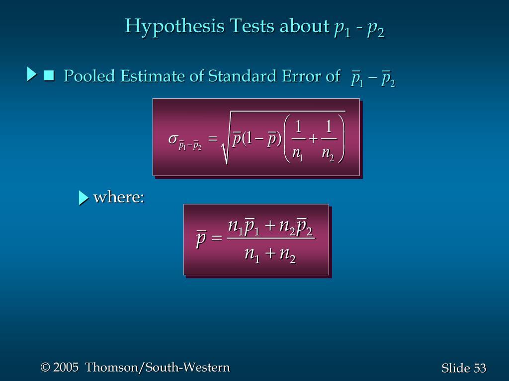 Pooled Estimate of Standard Error of