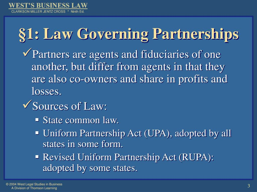 §1: Law Governing Partnerships