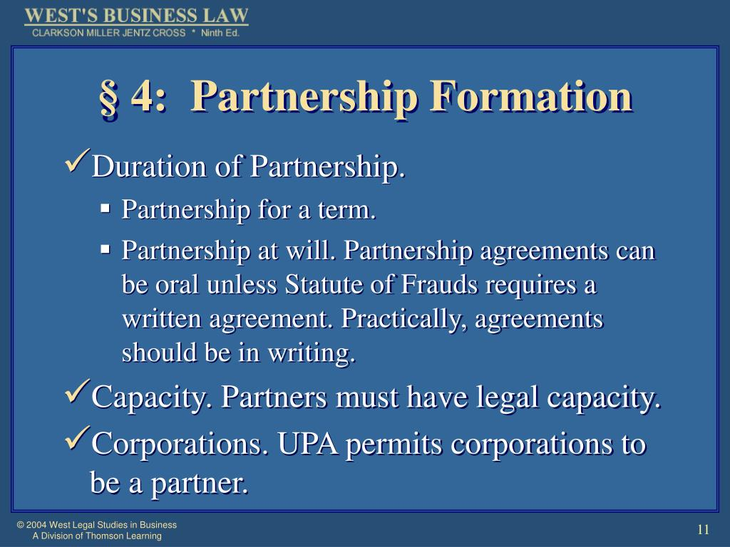 § 4:  Partnership Formation