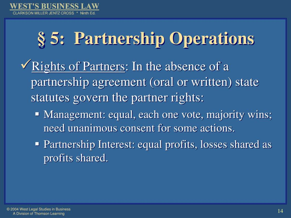 § 5:  Partnership Operations