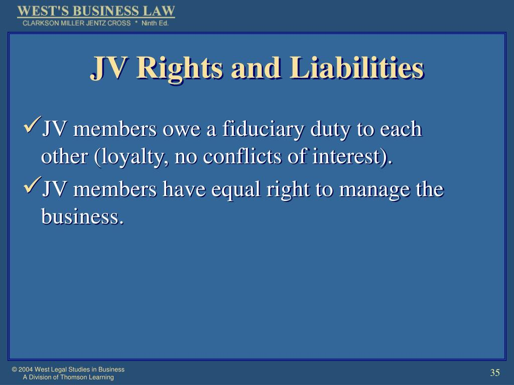 JV Rights and Liabilities