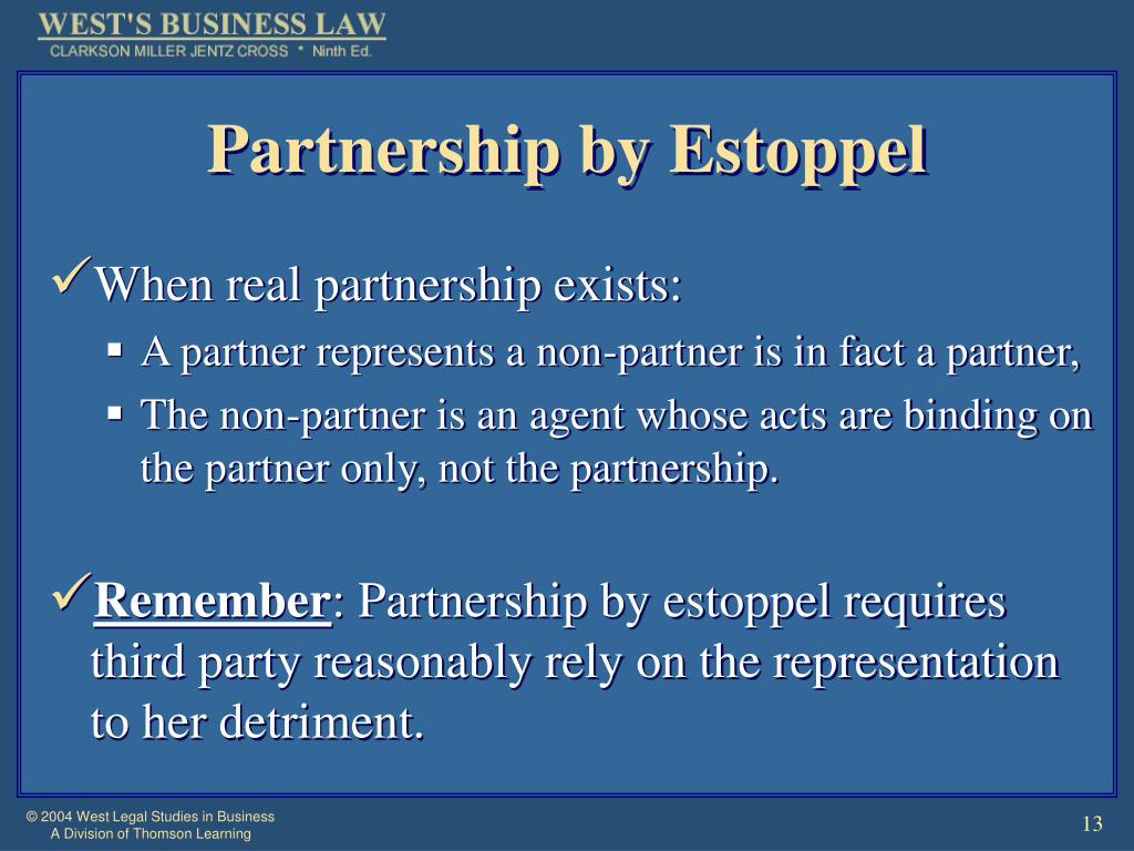 Partnership by Estoppel