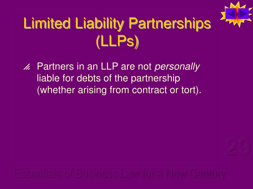 Limited Liability Partnerships (LLPs)