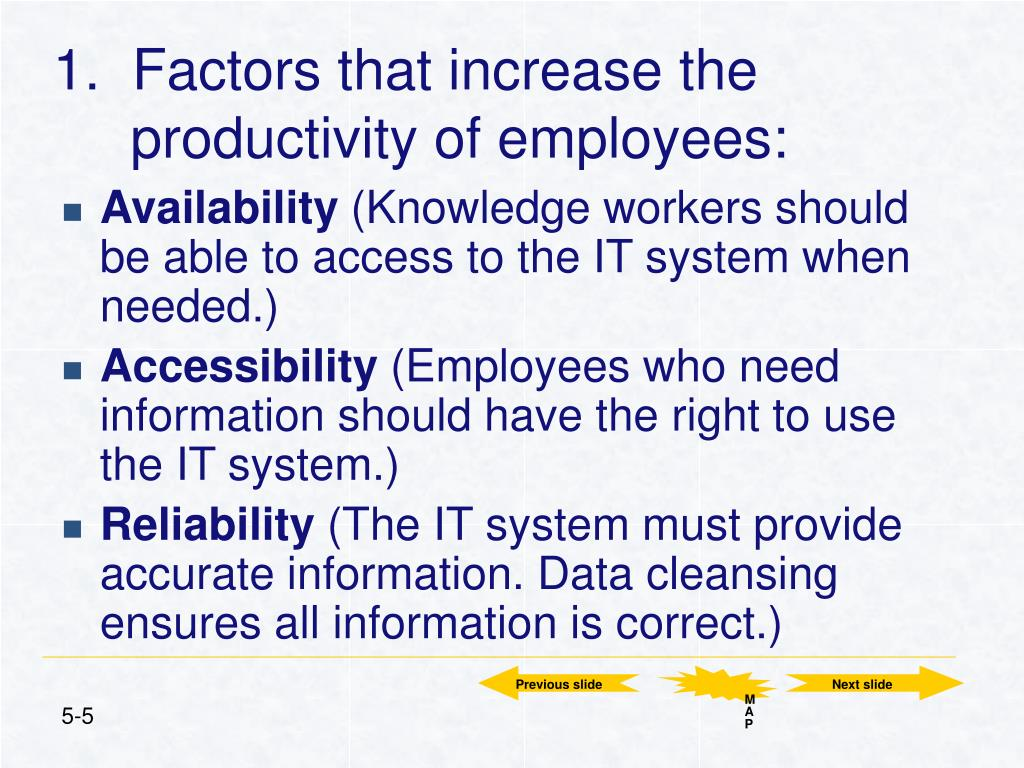 1.  Factors that increase the productivity of employees: