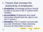 1 factors that increase the productivity of employees