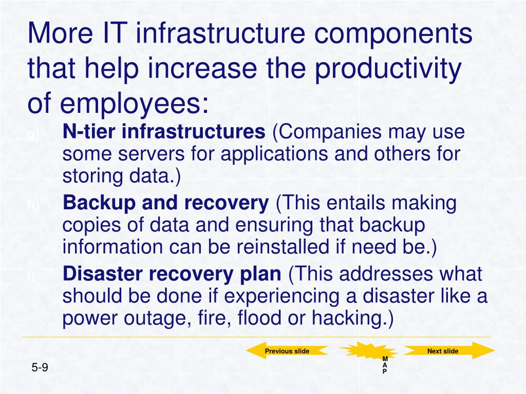 More IT infrastructure components that help increase the productivity of employees: