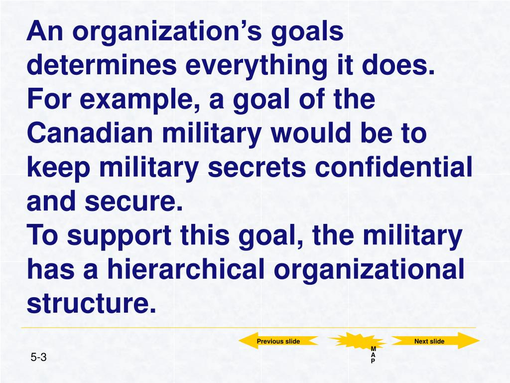 An organization's goals determines everything it does. For example, a goal of the Canadian military would be to keep military secrets confidential and secure.