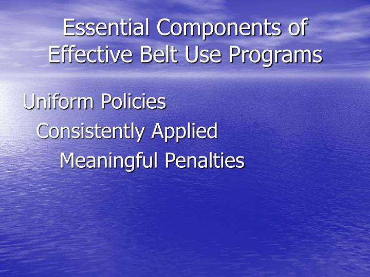 Essential components of effective belt use programs