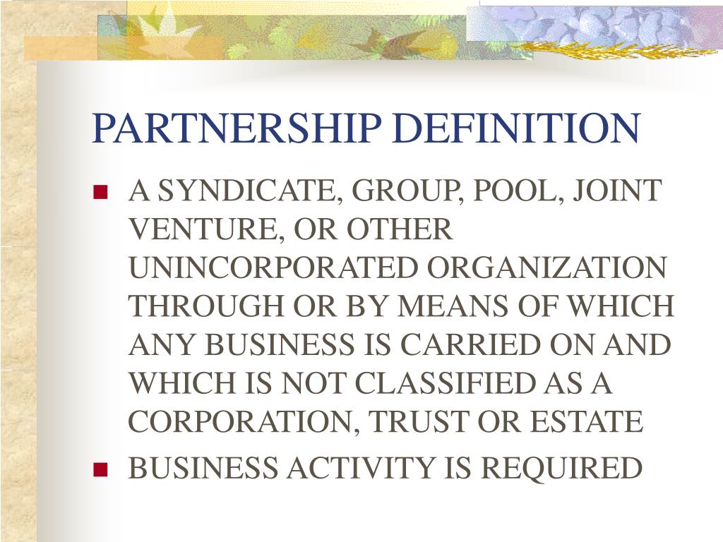 PARTNERSHIP DEFINITION