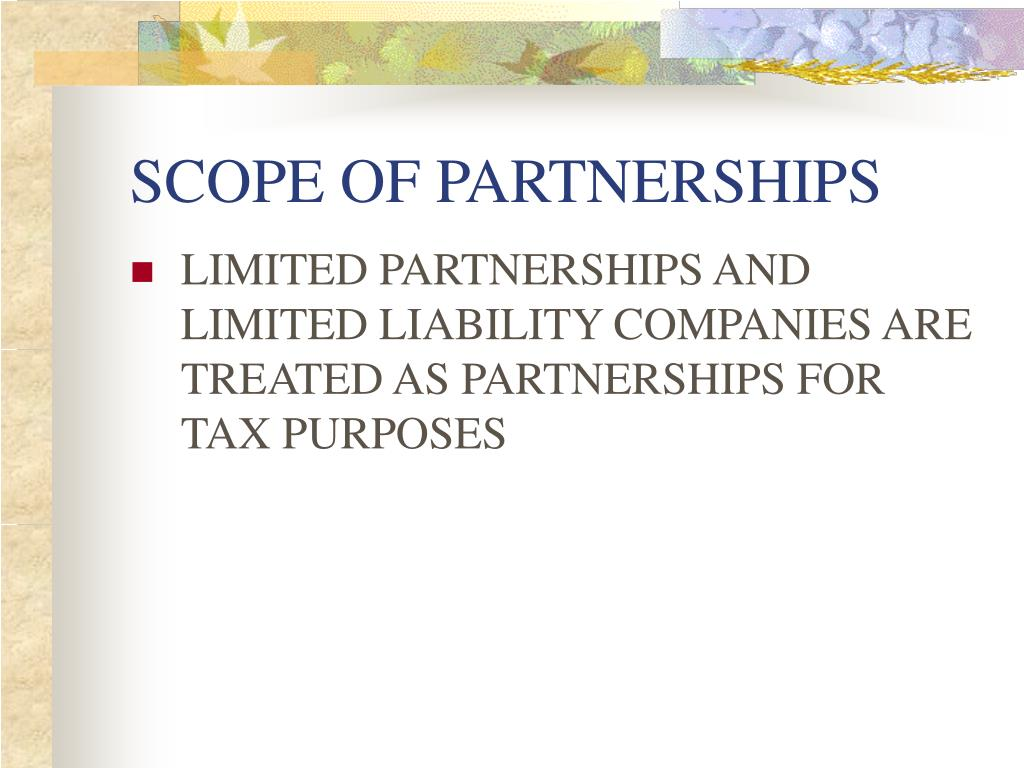 SCOPE OF PARTNERSHIPS