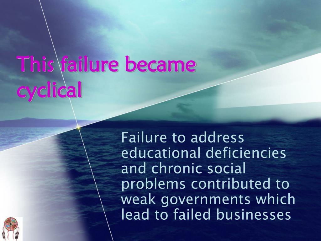 This failure became cyclical