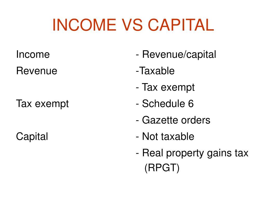 INCOME VS CAPITAL