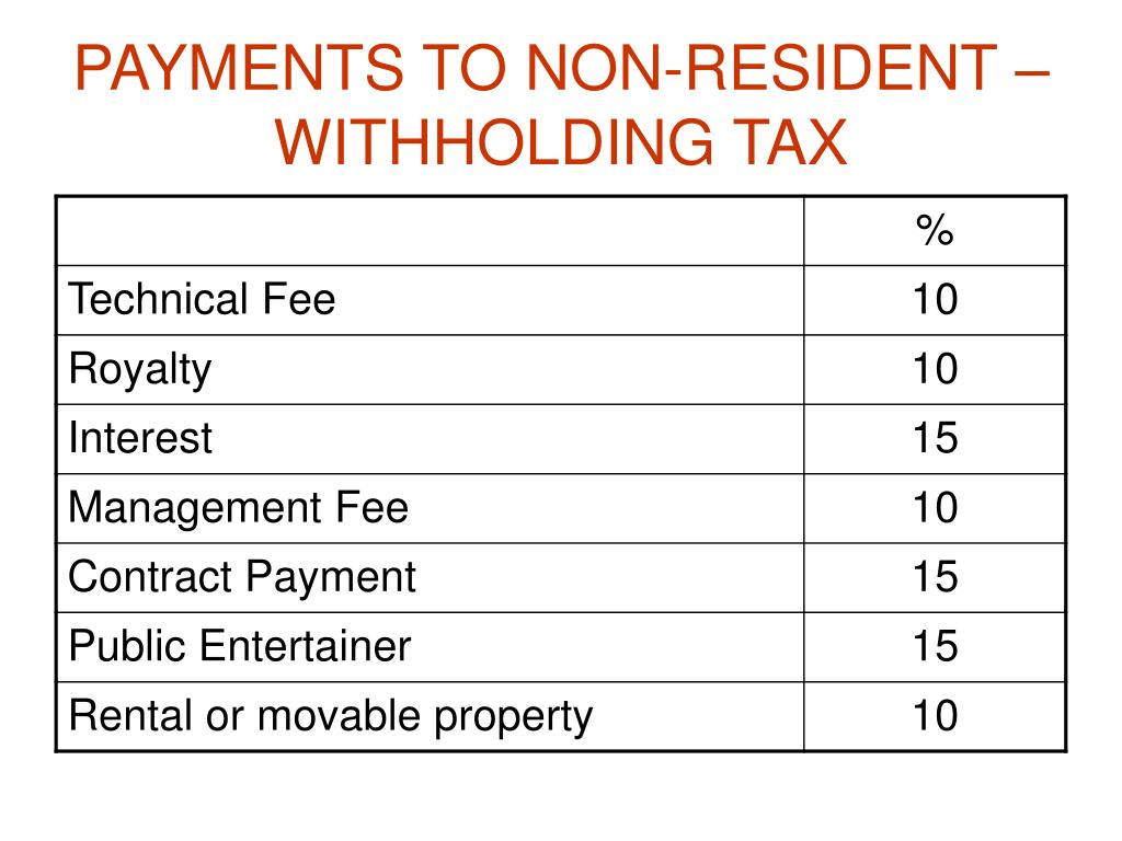 PAYMENTS TO NON-RESIDENT – WITHHOLDING TAX