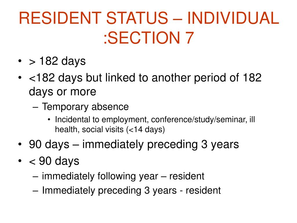 RESIDENT STATUS – INDIVIDUAL :SECTION 7