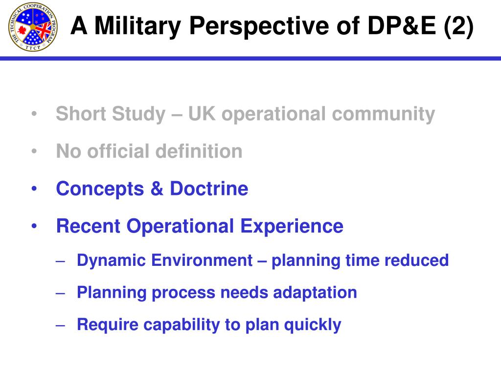A Military Perspective of DP&E (2)