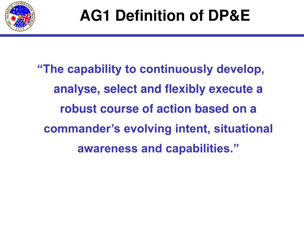 AG1 Definition of DP&E