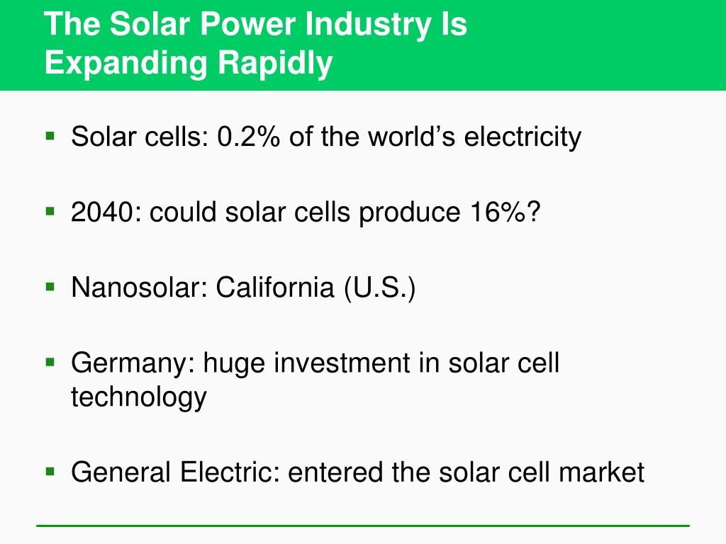 The Solar Power Industry Is