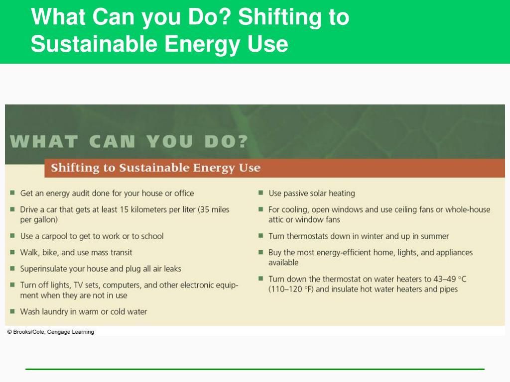 What Can you Do? Shifting to Sustainable Energy Use