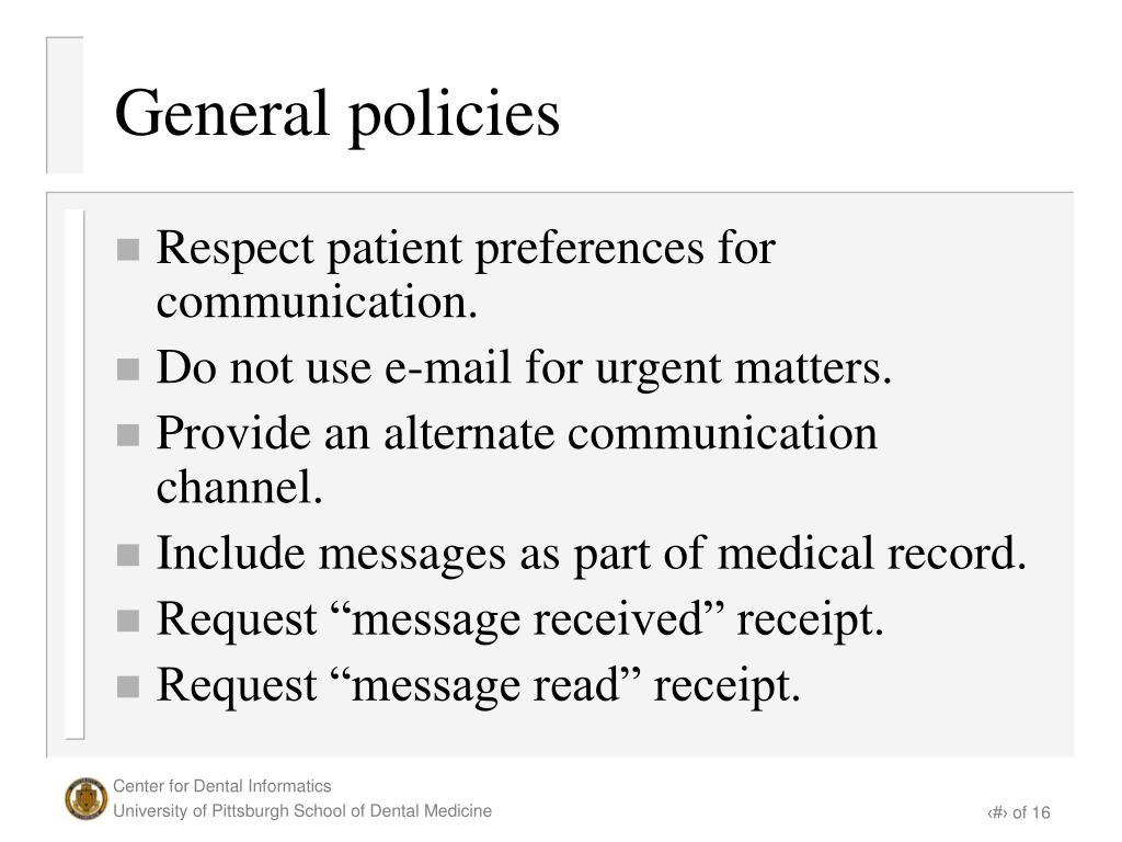 General policies