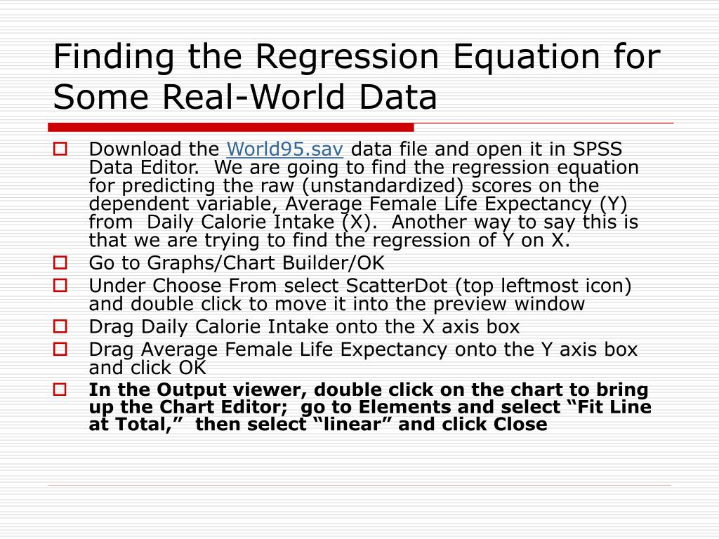 Finding the Regression Equation for Some Real-World Data