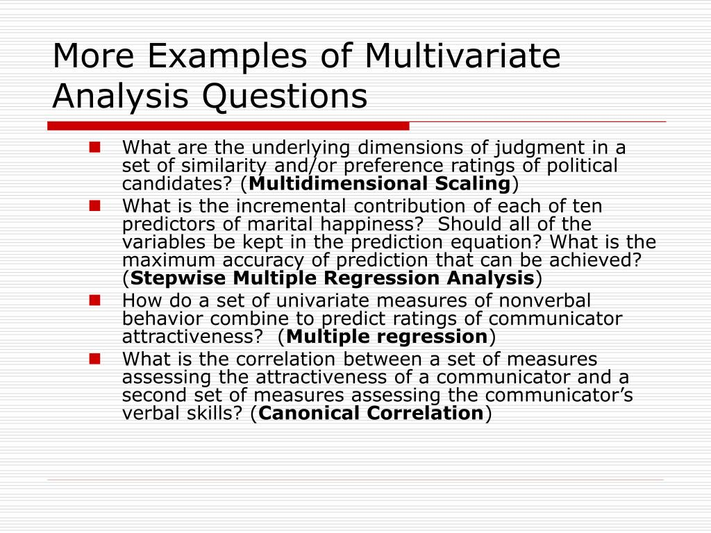 More Examples of Multivariate Analysis Questions